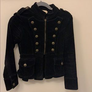 Super cute black corduroy military style jacket.